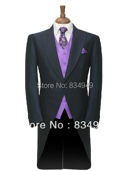 Custom Made to Measure dark navy blue Tailcoat with purple vest,BESPOKE long tail tuxedo tailcoat,TAILORED MEN SUITS