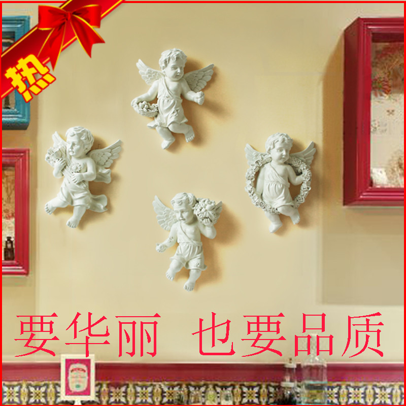 Resina Europea Ángel adornos decorativos pared sala de estar TV telón de fondo pared creativa pastoral hogar decoraciones - 2