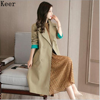 Windbreaker Women S2017 Fall Dress Western Collar Double Breasted Long Coat Solid Color Slim Was Thin