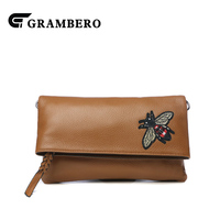 Fashion Bee Pattern Women Clutch Wallet Genuine Leather Top Leather Big Purse Lady Party Shopping Shoulder Crossbody Bags Gifts