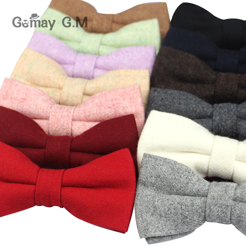 Mens Thick Wool Bowties For Wedding Business Butterfly Men Dick Solid Color Bow Tie Wool Cravat Unisex England Style Bow Ties