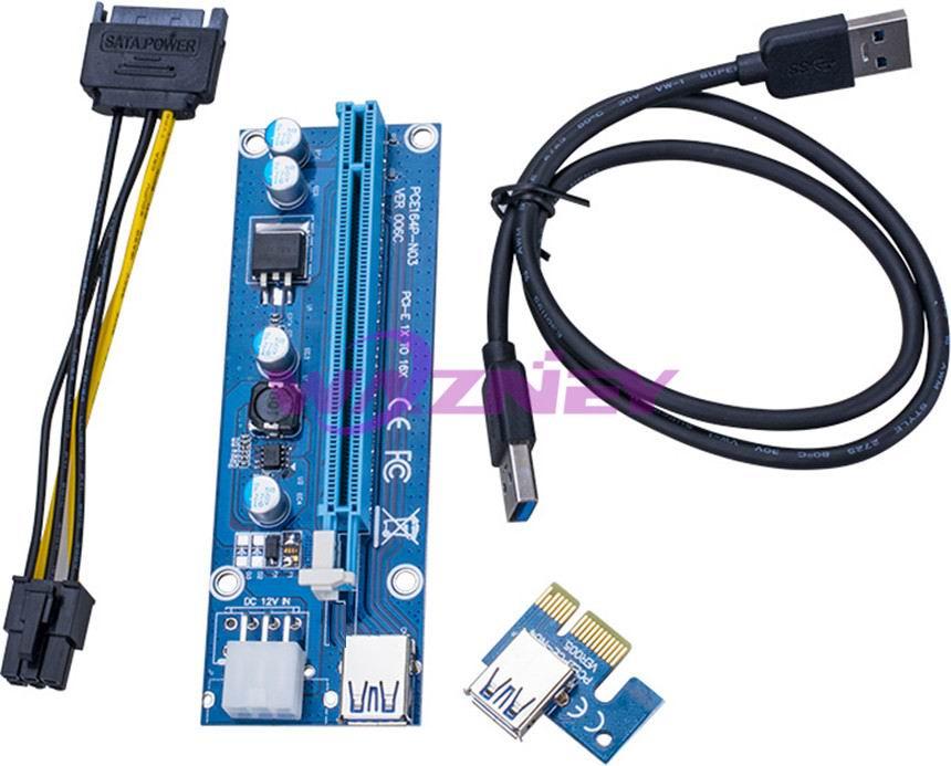 Prix pour VER 006C PCI-E PCI E Express 1X à 16X carte graphique riser Card Extender câble Adaptateur 6 broches alimentation Pour Bitcoin mineur