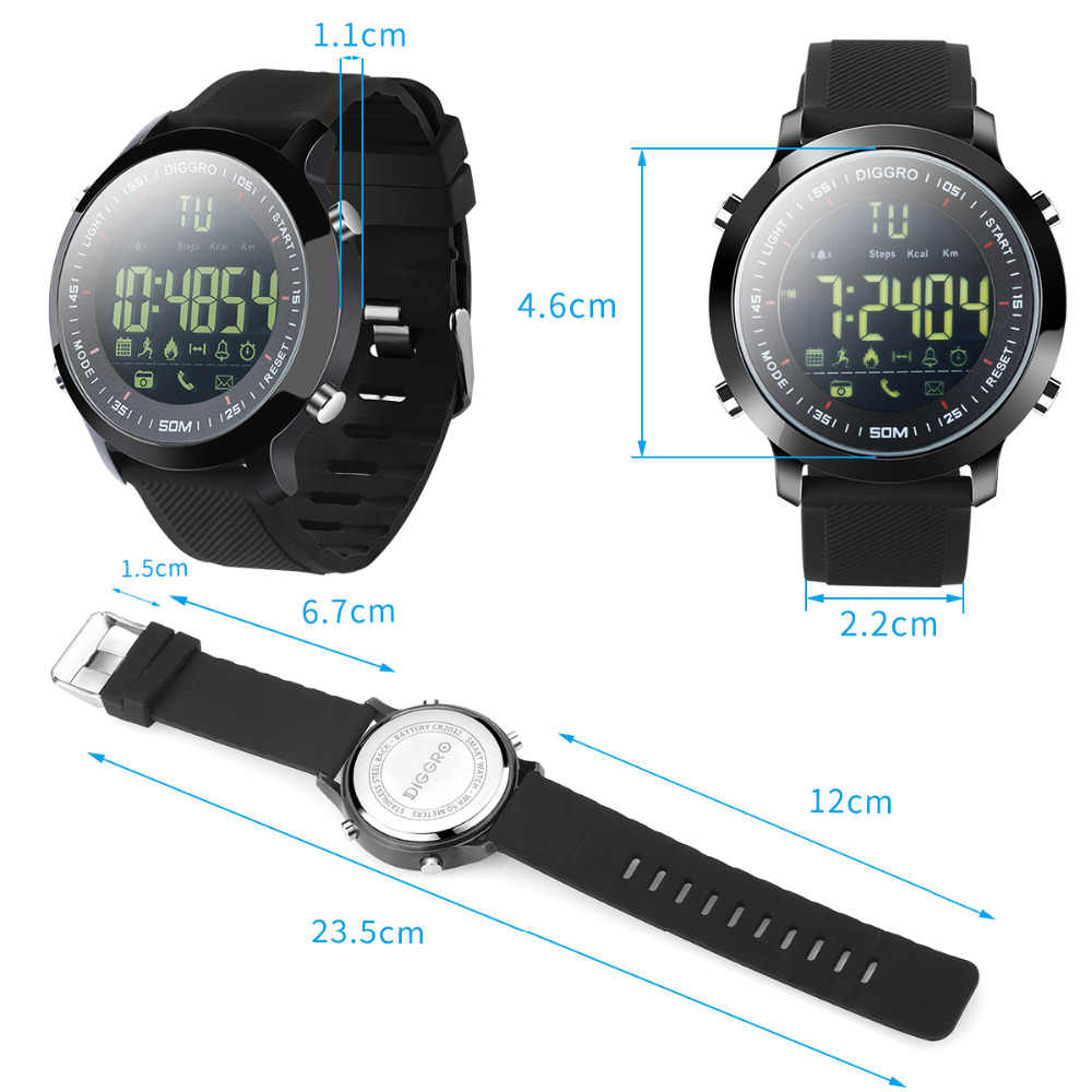 a55a97f6a42 ... Diggro EX18 Smart Watch Waterproof IP68 5ATM Passometer Message  Reminder Ultra-long Standby Swimming Sports