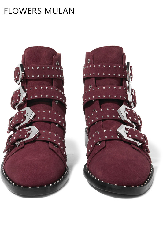Wine Red Real Leather Martin Boots Women Pointed Toe Metal Rivet Belt Buckle Motorcycle Boots Woman Fashion Ankle Boot Girls women boots plus size 35 43 genuine leather autumn winter ankle boots black wine red shoes woman brand fashion motorcycle boot