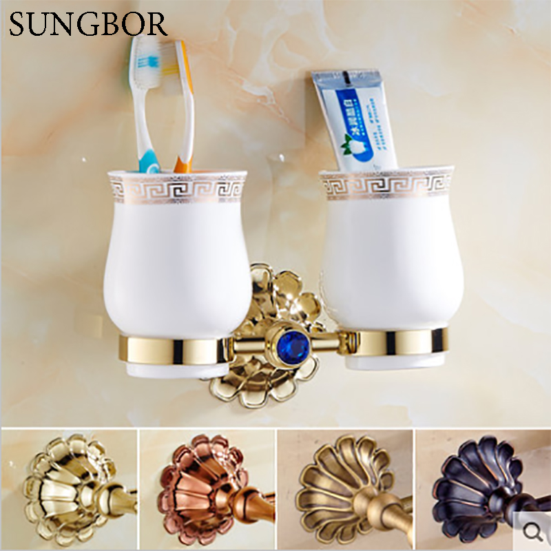 Bathroom Antique/Gold/Black/Rose Brass Cup & Tumbler Toothbrush Holder 2 Cups holder Bathroom Accessories HQ-2302K auswind luxury gold solid brass round base toothbrush holder antique plated double tumbler ceramic cup bathroom accessories
