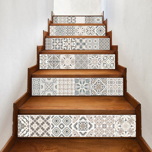Image 3 - 17 デザインモザイクタイル壁階段ステッカー自己接着防水 Pvc ウォールステッカーキッチンセラミックステッカー家の装飾