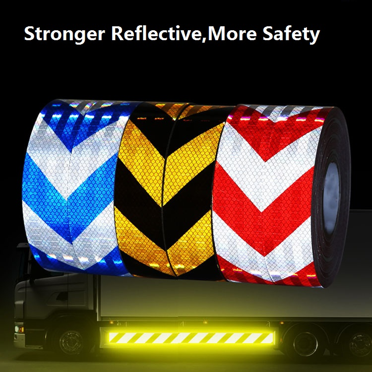 Fashion Style 5cm/7.5cm Wide Road Traffic Construction Site Corridor Factory Workshop Floor Warning Self-adhesive Twill Reflective Pet Tape Reflective Material