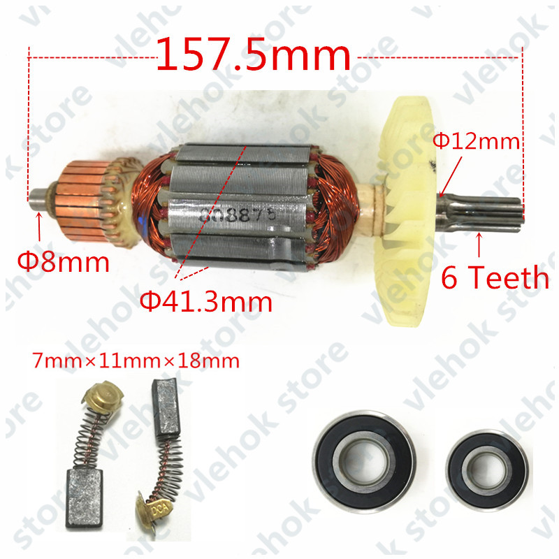 AC220-240V 6 Teeth Armature Rotor C213944E 360875E For HITACHI DH38MS DH38SS Eletric Drill Hammer Power Stone Machine Tools Part