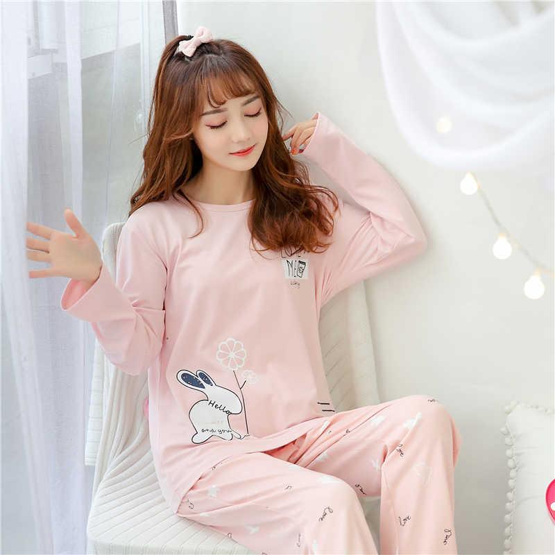 9ba8312eed1c 2019 Весна Пижама с длинными рукавами набор для женщин Ночная рубашка  свободные ...