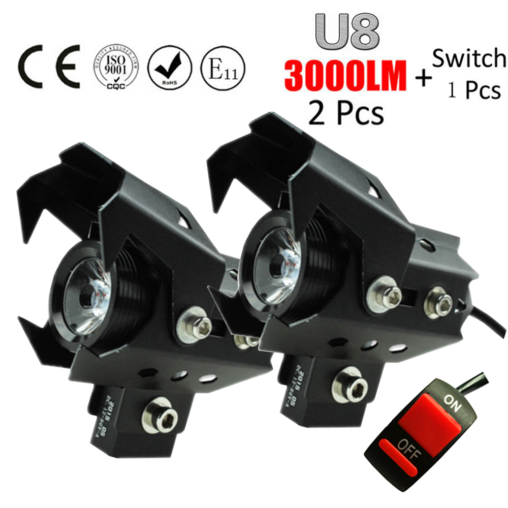 Huiermeimi 2pcs 125w 12V U8 Motorcycle Headlight LED driving car Fog Light DRL U5 Motorbike spotlight Car Head light With switch