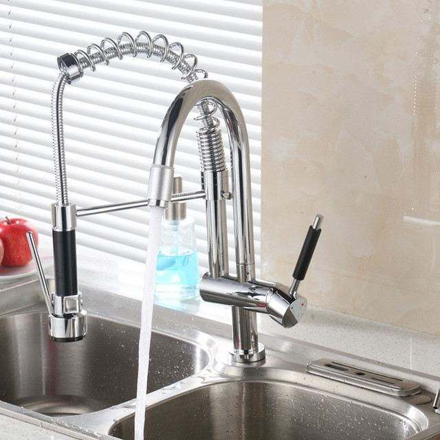 3 Ways Spring Kitchen Water Faucet With Lead Free Hot Cold Solid