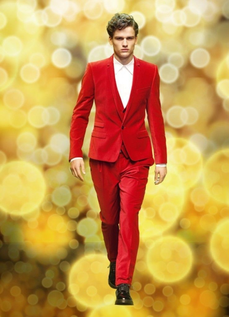 2f23aec70b Rouge Revers Cran One Button Terno Custome Homme Mode Smokings Beau Frais  Slim Fit Blazer Hommes Costumes Meilleur (Veste + pantalon + Gilet)