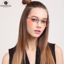 EE New Fashion Round Metal Frame Glasses Women Gold Glasses Frames Half Rimless Glasses Men Eye Glasses