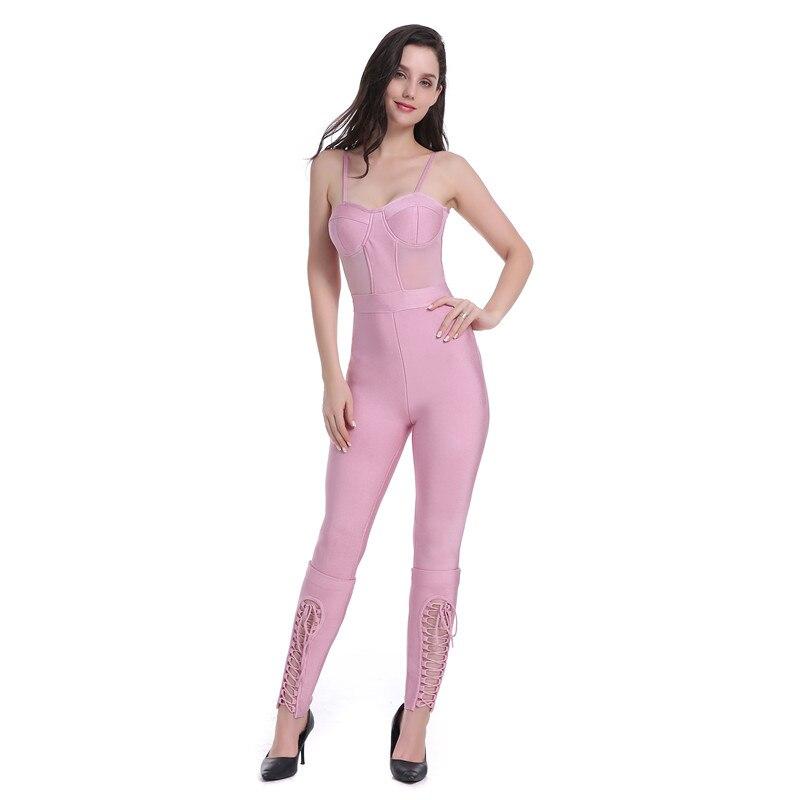 Dames Ceinture Moulante Rayonne Combinaisons Rose Celebrity Wear Lacées Fashion Sexy Couleur Bandage Hl XqxHq56O