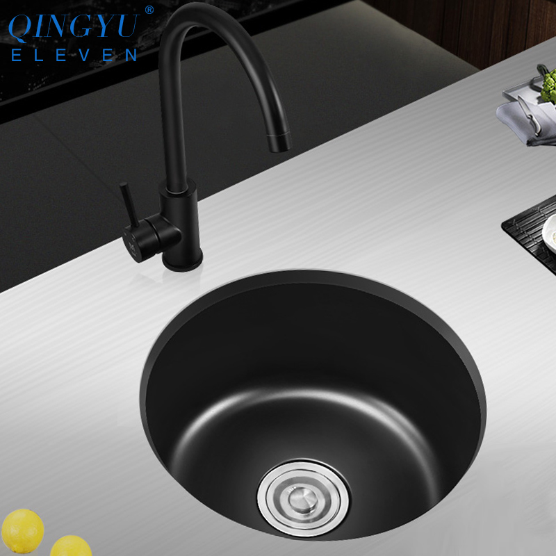 US $155.92 50% OFF|Round Kitchen Sink Nanometer Technology Black 304  Stainless Steel Manual Round Dish Sink Single Bar Counter Kitchen Sink-in  Kitchen ...