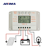 Aiyima 30A Solar Charge Controller LCD 12V24V 20A10A Auto Work Solar Regulator Panel Battery Cell Charger for Home Use PV System