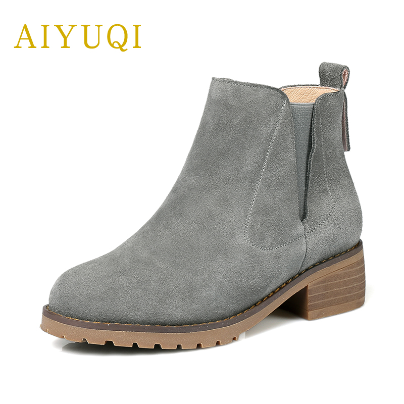 AIYUQI 2018 new genuine leather women naked boots plus velvet warm winter boots fashion martin boots women plus size 41#42#43# aiyuqi 2018 spring new women s genuine leather shoes waterproof platform sexy plus size 41 42 43 fashion heel shoes female