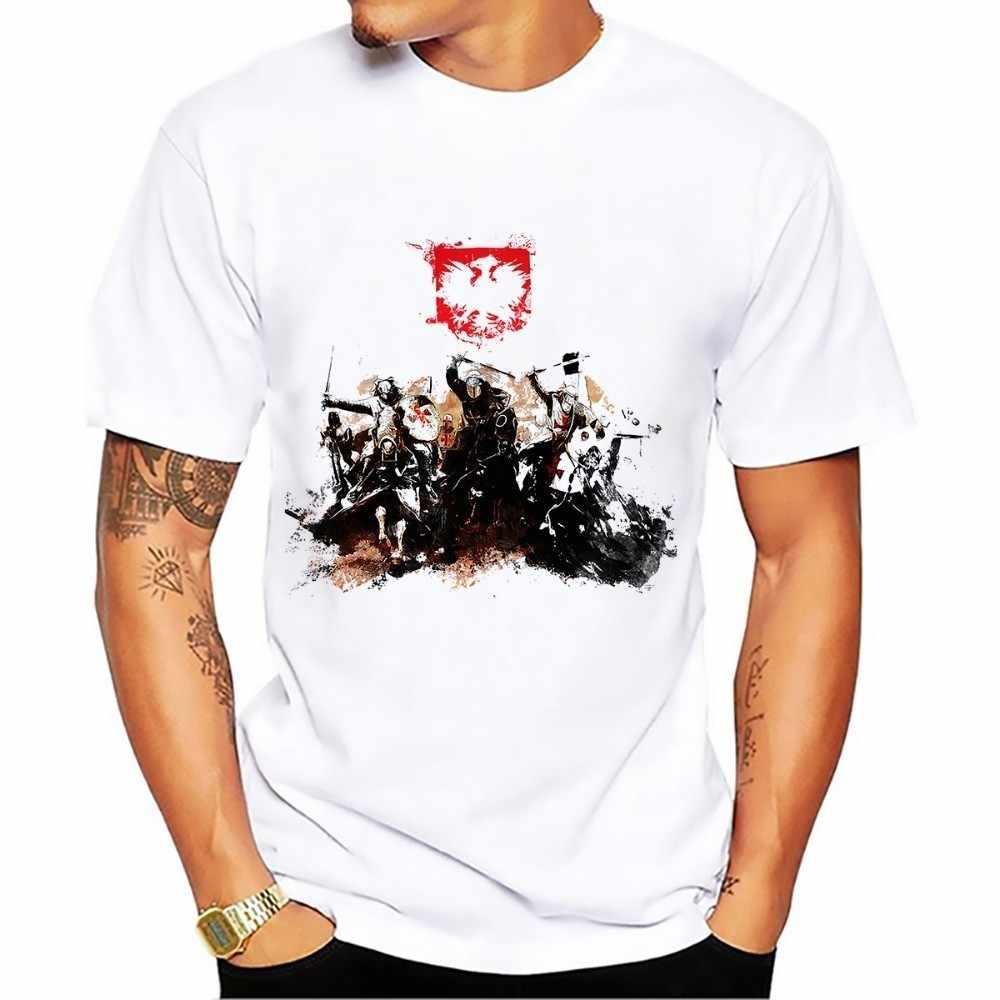 Camiseta artística del caballero de la caballeria de Polonia 2018 verano nuevo blanco casual homme fresco polaco hussar camiseta