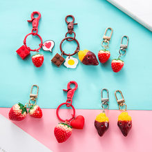 Simulation Baked Sweet Potato Key chain Creative lovely Strawberry Keychains Women Car Bag Pendant Keyring(China)