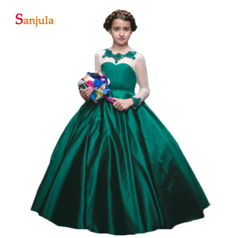Dark Green Satin   Girls   Pageant Party   Dresses   2019 Sheer Tulle Long Sleeve Puffy A-Line   Flower     Girls     Dresses   Lace Appliques D912
