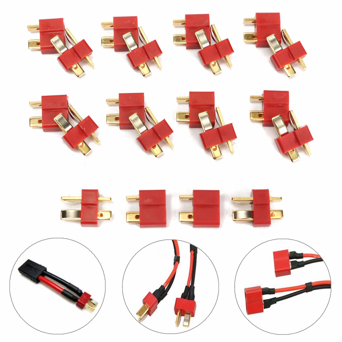 10 Pair T Plug Male and Female Connectors Deans Style For RC LiPo Battery Rc Model t plug male to ec3 female connectors for r c model battery red blue golden 10 pcs