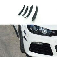 4pcs Car Candars Carbon Fiber Car Auto Front Bumper Fins Lip Canards Splitter Trim Kit