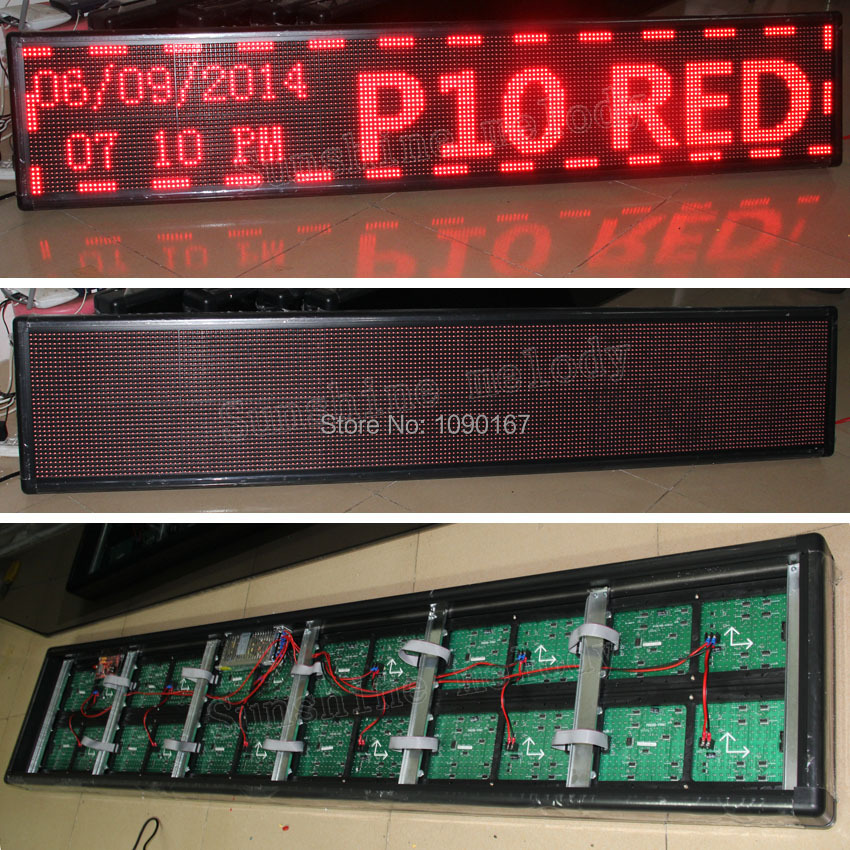 DIY P10 Red Semi-outdoor LED display sign, 200cm*40cm (Semi-outdoor Red LED module + 5V power supply + control card + cable)DIY P10 Red Semi-outdoor LED display sign, 200cm*40cm (Semi-outdoor Red LED module + 5V power supply + control card + cable)