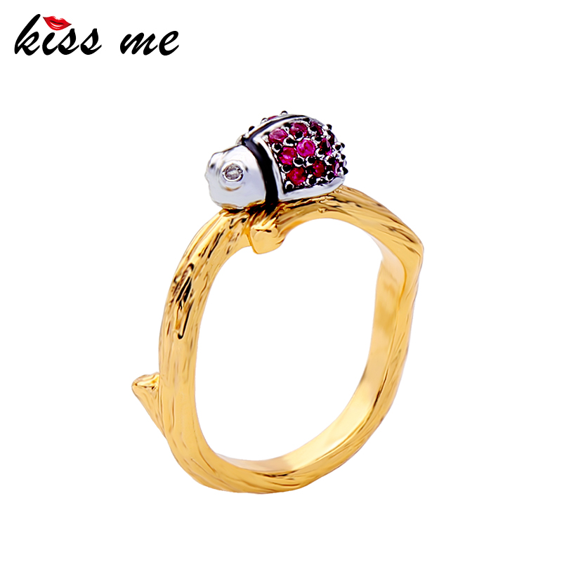 KISS ME Women Wedding Ring High Quality Gold Color Copper Crystal Insect Rings Female Fashion Jewelry