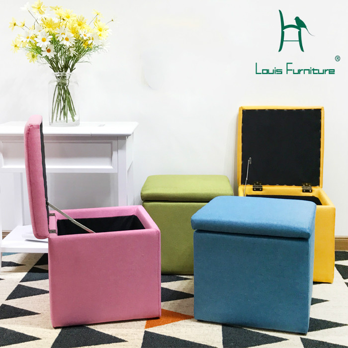 Louis Fashion Stools Ottomans Modern Simple Household Cloth Art Storage Multi-functional Can Sit Solid Wood Change Shoes