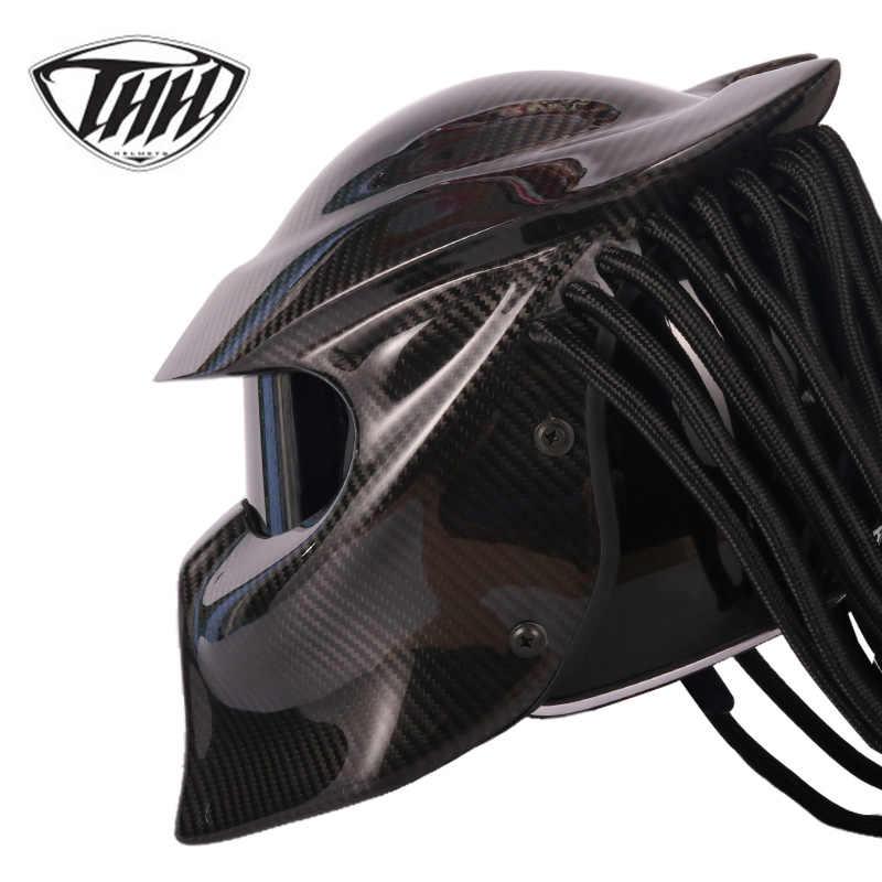 Мотоциклетный шлем хищника из углеродного волокна с полным лицом, Железный воин, мужской шлем в горошек, сертификация безопасности, высокое качество, черный цвет, разноцветный