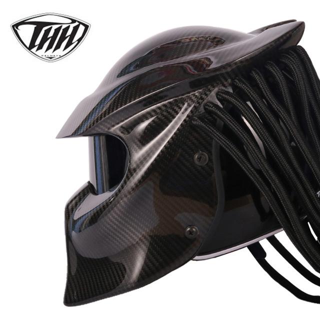 Predator Carbon Fiber Motorcycle  Full Face Helmet (DOT Safety Certification)