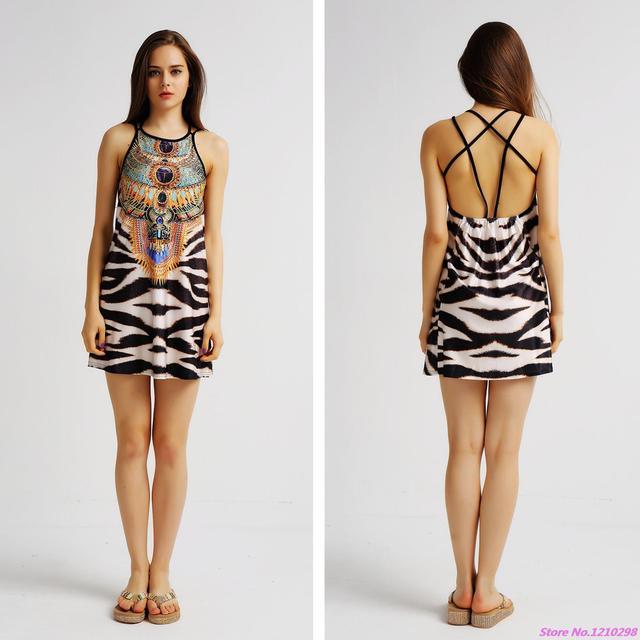 4865c1c331 Women Leopard Printed Beach Dress Women Summer Backless Leopard Dresses  Party Wear Dresses Sleeveless Sports Dress