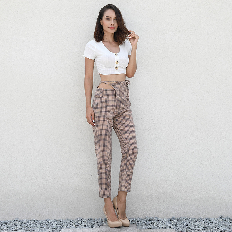 Lace up hollow out plaid pants women office lady Khaki high waist zipper trousers 2018 Autumn plus size casual pant in Pants amp Capris from Women 39 s Clothing