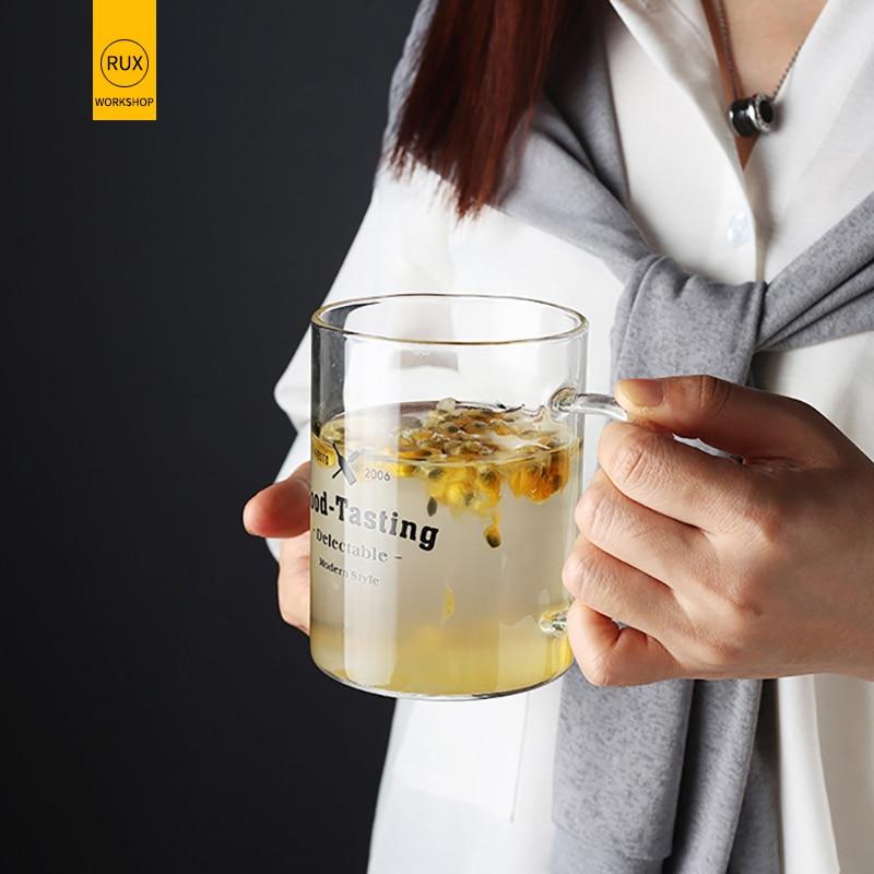 RUX WORKSHOP 1pcs Heat resistant Transparent glass cup breakfast milk Juice Mug Christmas wedding gift