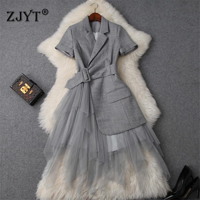 New Fashion Runway Designer Summer Dress Women Clothes 2019 Elegant OL Notched Collar Blazer Patchwork Tulle
