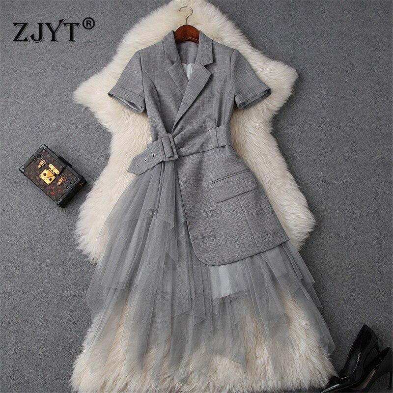 New Fashion Runway Designer Summer Dress Women Clothes 2019 Elegant OL Notched Collar Blazer Patchwork Tulle Party Office Dress