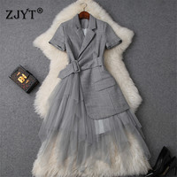 New Fashion Runway Designer Summer Dress Women Clothes 2019 Elegant OL Notched Collar Blazer Patchwork Tulle Party Office Dress