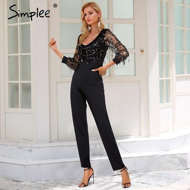 Simplee Black Sequin Jumpsuit Embellished Mesh Sleeve Fitted Skinny
