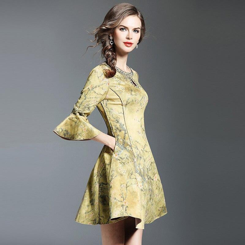 Femmes Daim Color cou ligne Femelle 2017 Manches A Haut Eleagnt En De O Color Robes Flare Picture Vêtements picture Automne Perles Gamme 56Swq6A