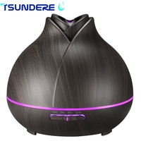 TSUNDERE L 400ML Humidifier Creative Wooden Flower Aroma Humidifier Cool Mist Ultrasonic Humidifiers 7 Color LED