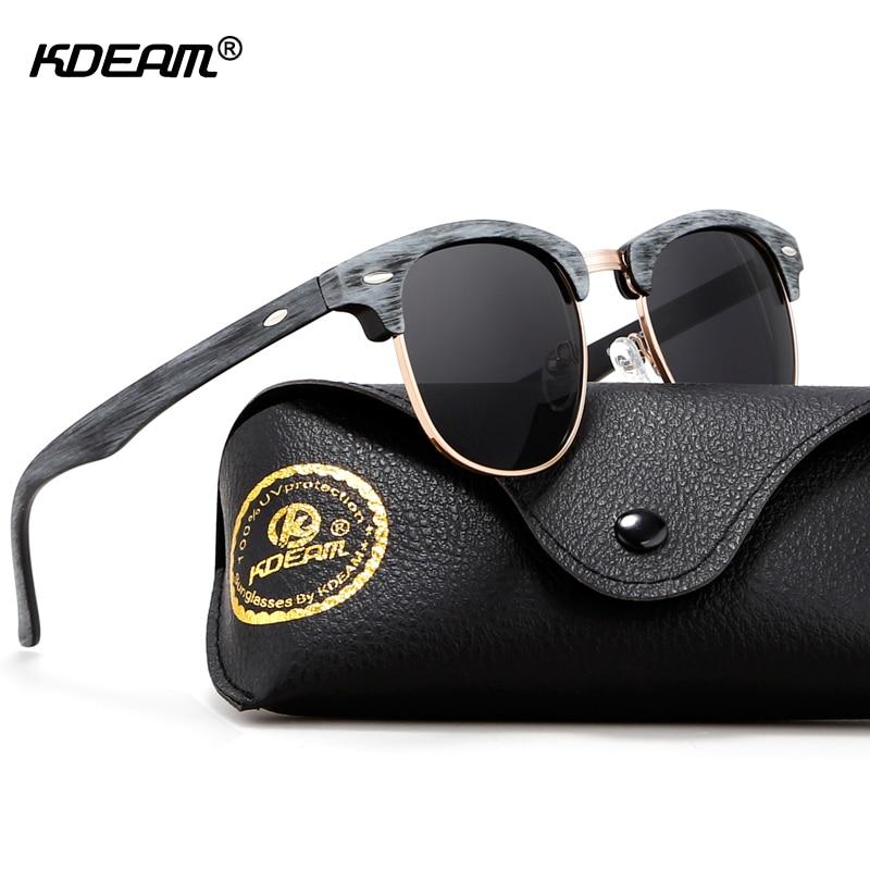 KDEAM золотистые Солнцезащитные очки женские деревянные модные солнцезащитные очки без оправы 100 UV для унисекс с полиуретановым чехлом KD259 купить на AliExpress