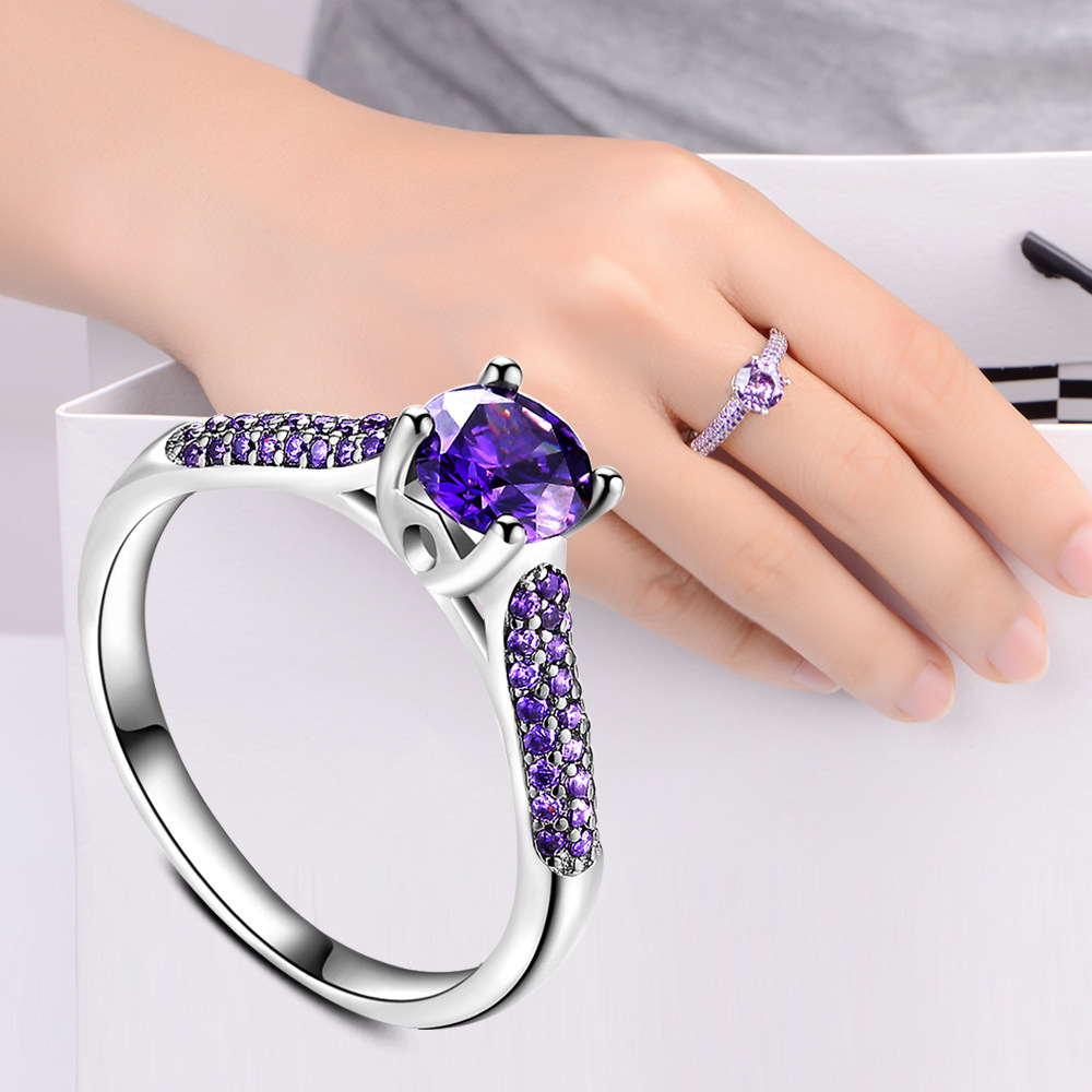 TJP Charm Purple Crystal Female Finger Rings Jewelry Top Quality 925 Silver Rings For Girl Lady Wedding Engagement Accessories