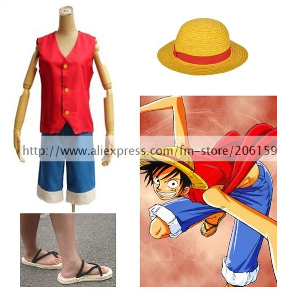 One Piece Monkey D Luffy Cosplay Costume With Luffy Hat Luffy Shoes Men Vest Top Shorts For Halloween Complete Set Clothing