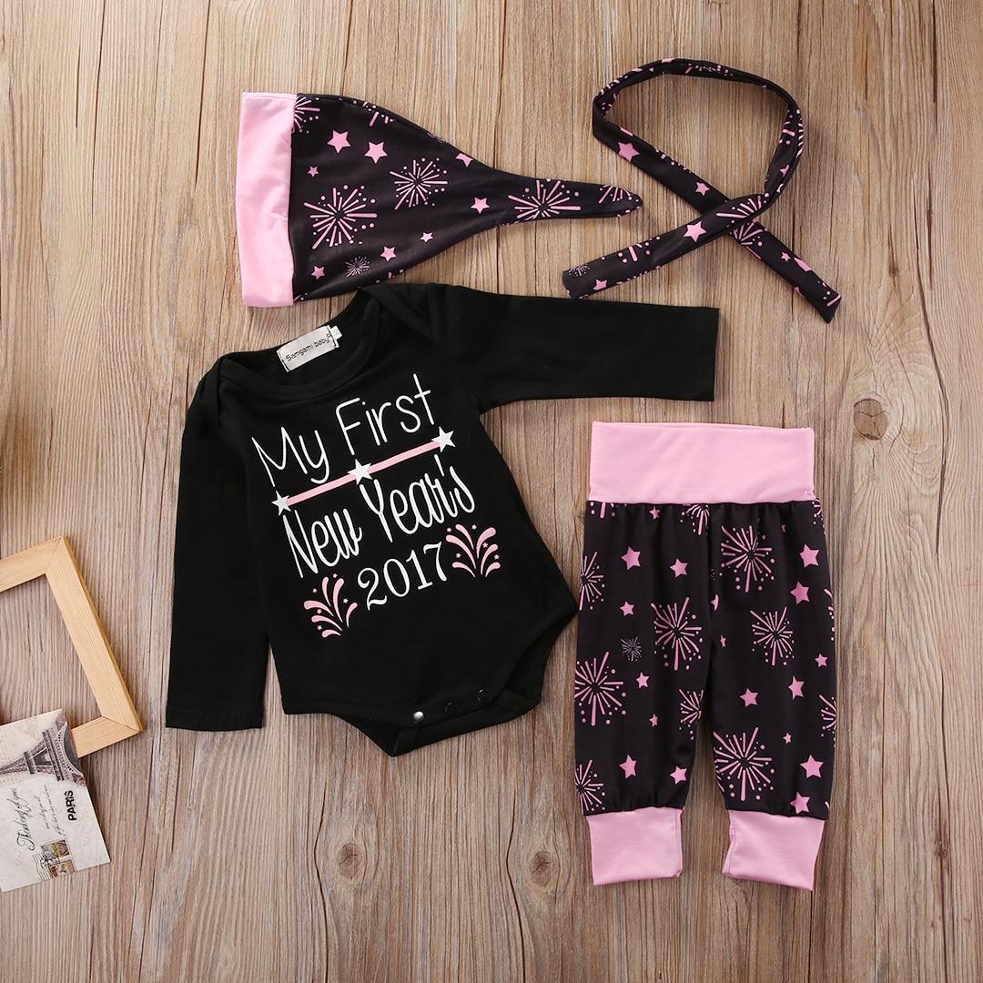 2017 New Year Newborn Infant Baby Girl Clothing Set Babies Girl Bodysuit Onesie Letter Tops+Pants+Headband+Hat 4Pcs Outfits Set
