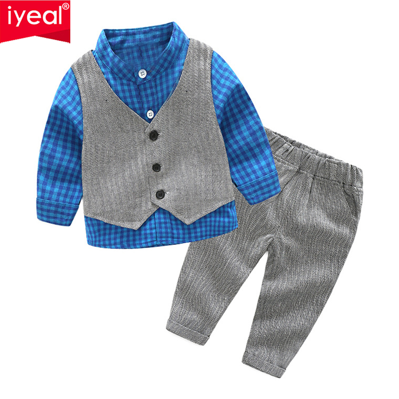 IYEAL Toddler Baby Boys Clothes Gentleman Kids Infant Wedding Party Suits Outfits Plaid Shirt + Trousers + Vest 3PCS /Set