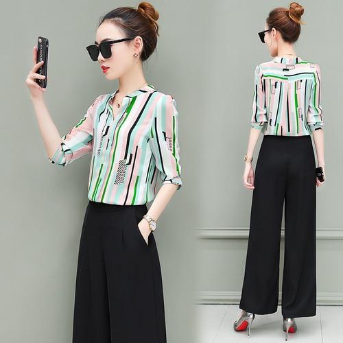 New OL suits 2018 summer Korean fashion stripe chiffon blouse top & wide-legged pants two pcs clothing set lady outfit S-4XL 4