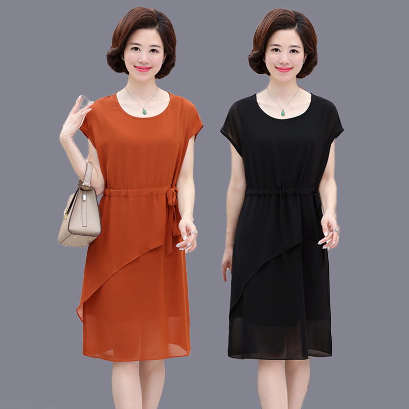2018 new mother dress 40 50 year old middle aged women's summer loose big yards short sleeve chiffon dress