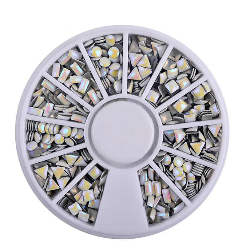 Kawaii kolorowe błyszczące okrągłe ultracienkich cekiny kolorowy lakier do paznokci Art Glitter porady żel UV 3D ozdoba do paznokci Manicure DIY akcesoria