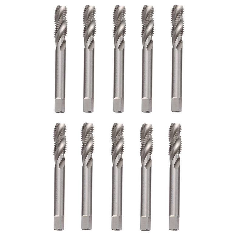 10Pcs Spiral Fluted Machine Hands Taps M10 Metric HSS Spiral Pointed Taps Tapping Screw Thread Forming Tap Hand Tools 4pcs set hand tap hex shank hss screw spiral point thread metric plug drill bits m3 m4 m5 m6 hand tools