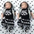 Verano 2017 bebé ropa de los bebés del mameluco de los bebés ropa de algodón de manga corta camiseta + pantalones de niño recién nacido